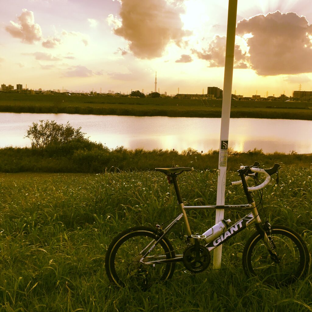 江戸川サイクリングロードでGIANTのIDIOM0